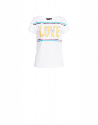 Love Moschino T-shirt With Logo Woman White Size 38 It - (4 Us)