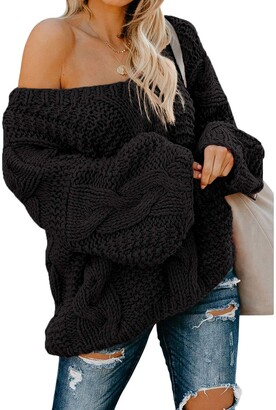 Jolicloth Women's Cable Knit Jumper Oversized Chunky V Neck Black Sweaters Casual Batwing Pullover Loose Long Sleeve Jumper Tops UK 10 12