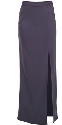 Philosofée By Glaucia Stanganelli Charcoal Grey Tailored Maxi Skirt