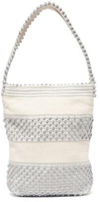 Antonello Tedde Bultei Pompom Woven Shoulder Bag - Womens - Grey White