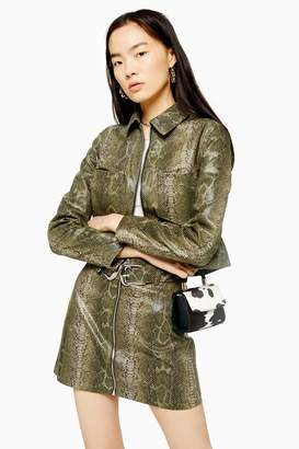 Topshop Womens Green Snake Zip Through Fitted Jacket - Green