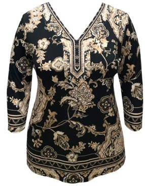 JM Collection Plus Size Printed 3/4-Sleeve Studded Tunic Top, Created for Macy's