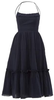 Loup Charmant Alghero Tie Back Organic Cotton Dress - Womens - Navy