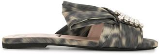 No.21 Crystal-Embellished Leopard Print Mules