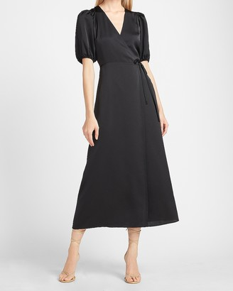 Express Satin Puff Sleeve Belted Wrap Maxi Dress