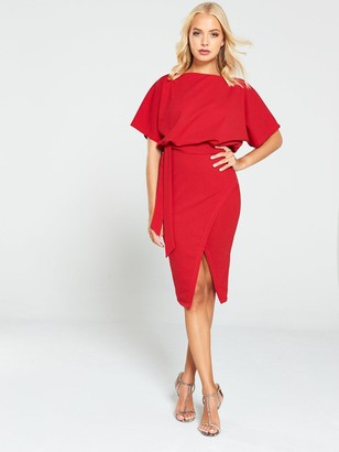 AX Paris Tie Waist Midi Dress - Red