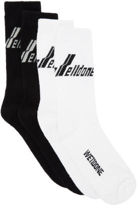 we11done Two-Pack Black Logo Socks