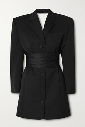 Magda Butrym Belted Wool And Silk Mini Dress - Black
