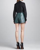 Robert Rodriguez Leather-Collar Cotton Blouse