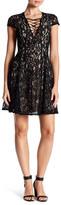 Soprano Lace-Up Lace Mini Dress