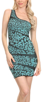 Mint & Black Abstract One-Shoulder Dress