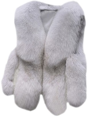 Zongsen Women's Warm Stitching Gilet Outwear Short Slim Vest Faux Fur Coat Jacket Waistcoat Fox White M