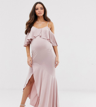 Flounce London Maternity satin Stretch midi dress with cold shoulder with frill detail in mauve