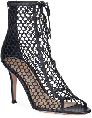 Gianvito Rossi Open-Toe Fishnet Lace-Up Booties