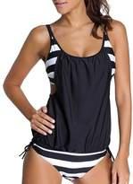 Laryana Sexy Womens Stripes Lined Up Tankini Top Sets Bikini Swimwear