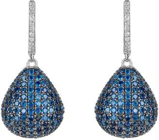 Latelita Valerie Pear Drop Gemstone Earrings Silver Sapphire Blue