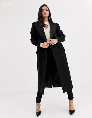 Asos Design DESIGN tux maxi coat in black