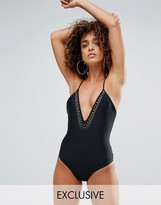 South Beach Studed Plunge Swimsuit