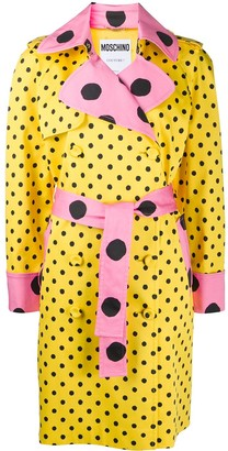 Moschino Polka Dot Belted Trench Coat