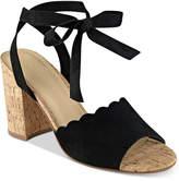 Marc Fisher Piya Lace-Up Cork Block-Heel Sandals Women's Shoes