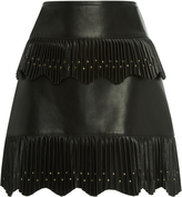 Elie Saab Tiered Leather Mini Skirt
