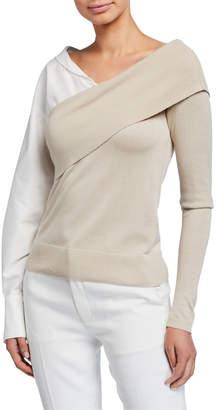 ADEAM Two-Way Knit Poplin-Sleeve Sweater