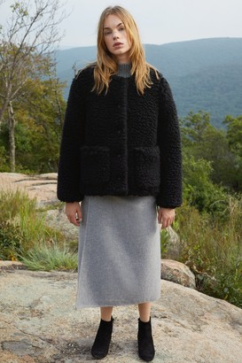 Mansur Gavriel Furry Cashmere Short Jacket - Black
