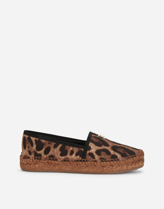 Dolce & Gabbana Leopard-Print Cotton Espadrilles With Branded Plate