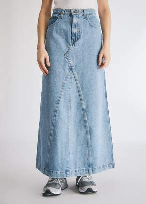 Nanushka Women's Mae Long Denim Skirt in Light Blue, Size Extra Small | 100% Cotton