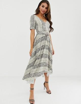Asos DESIGN v neck midi dress with pleated skirt and belt in snake print