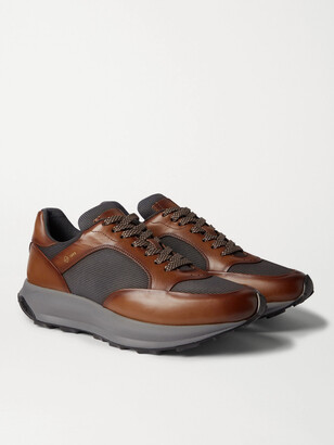 Dunhill Aerial Patina Mesh And Leather Sneakers