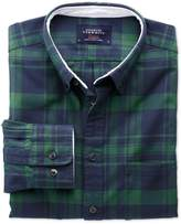 Slim Fit Navy And Green Check Washed Oxford Cotton Shirt Single Cuff Size Xs By Charles Tyrwhitt