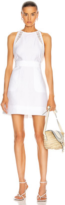 Chloé Linen Apron Mini Dress in Iconic Milk | FWRD