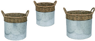 Transpac Set Of 3 Metal Silver Spring Rope Embellished Canisters