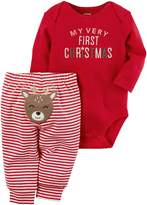 "Carter's Baby My Very First Christmas"" Bodysuit & Striped Reindeer Applique Bottoms"
