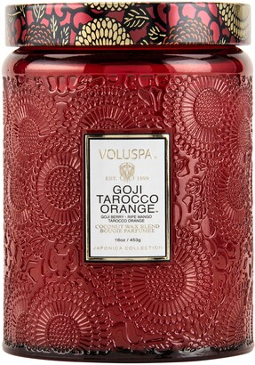 Voluspa Japonica Goji Tarocco Orange Large Embossed Glass Jar Candle