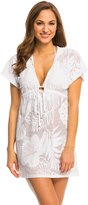 J Valdi J.Valdi Tropical Sheer Tie Front Hooded Cover Up Tunic 8141020