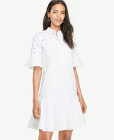 Ann Taylor Eyelet Detail Flounce Dress