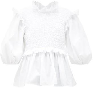 Cecilie Bahnsen Ruffled Smocked-bodice Cotton-poplin Blouse - White