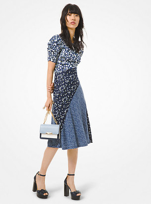 Michael Kors Mixed Floral Matte Jersey Ruched-Sleeve Dress