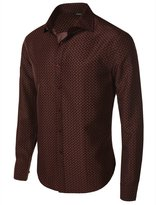 fhnlove Franco Benicci Men's Spread Collar Patterned Print Long Sleeve Dress Shirt B67 M