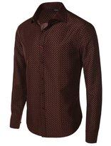 fhnlove Franco Benicci Men's Spread Collar Patterned Print Long Sleeve Dress Shirt B78 3XL