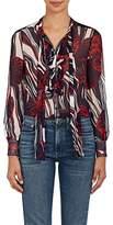 Warm Women's Mood Floral Silk Plissé Chiffon Blouse