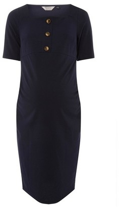 Dorothy Perkins Womens **Maternity Navy Square Neck Button Shift Dress