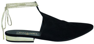 Chanel Black Suede Leather Pointed Toe Mules Size 39