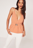 Missguided Buckle Waist Cami Top Pink