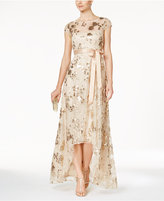 Adrianna Papell Sequined Illusion High-Low Gown