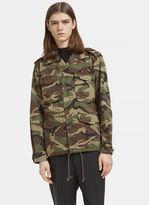 Saint Laurent Love Force Camouflage Military Jacket In Khaki