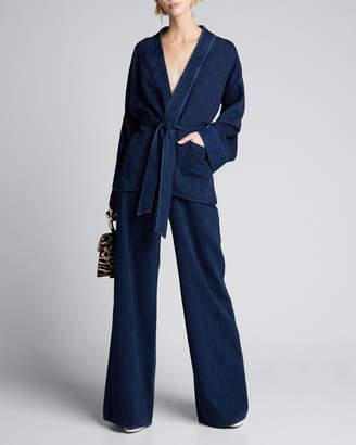 Forte Forte Calvary Denim Belted Kimono Jacket