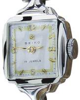 Seiko 5510 White Gold Plated Stainless Steel Manual 27mm Womens Watch 1950s